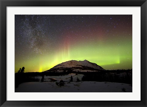 Framed Aurora Borealis and Milky Way over Carcross Desert, Canada Print