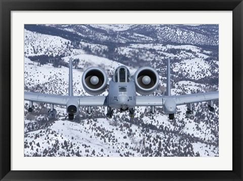 Framed A-10C Thunderbolt over Idaho with Snow Print