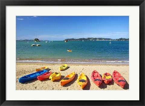 Framed Kayaks, Paihia, Northland, New Zealand Print