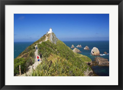 Framed Lighthouse, Nugget Point, South Island, New Zealand Print