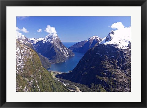 Framed Cleddau Valley, Mitre Peak and Milford Sound, South Island, New Zealand Print