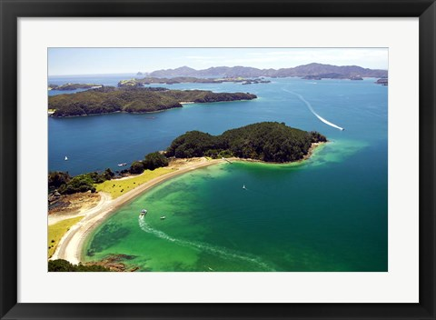 Framed Motuarohia Island, Bay of Islands, Northland, New Zealand Print