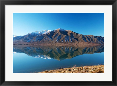 Framed Lake Benmore in Winter, Waitaki Valley, South Island, New Zealand Print