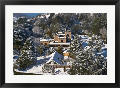 Framed Larnach Castle and Snow, Otago Peninsula, South Island, New Zealand Print