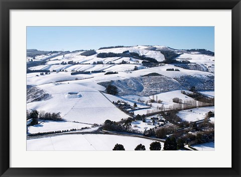 Framed Winter snow near Invermay Research Centre, Taieri Plain, South Island, New Zealand Print
