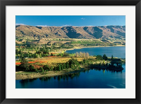 Framed Pisa Range and Lake Dunstan, Central Otago, New Zealand Print