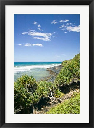 Framed Australia, Gold Coast, Burleigh Head NP beach Print