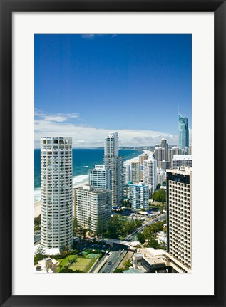Framed Australia, Gold Coast, Surfers Paradise, city skyline Print