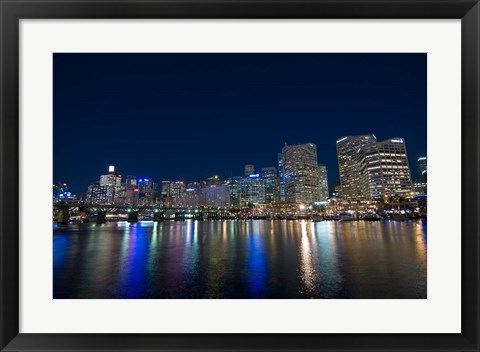 Framed Darling Harbour at night, Sydney, New South Wales, Australia Print
