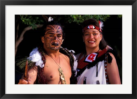Framed New Zealand, North Island, Maori culture and costume Print