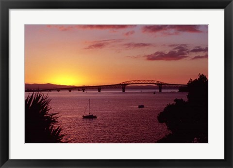 Framed Auckland Harbour Bridge and Waitemata Harbour at Dusk, New Zealand Print
