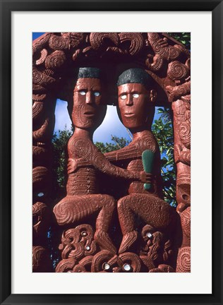 Framed Native Maori, Wooden Tribal Statue, Maori Arts and Crafts Institute, New Zealand Print