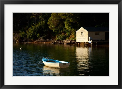 Framed Boat on the lake at Lochmara Lodge, Marlborough Sounds, New Zealand Print
