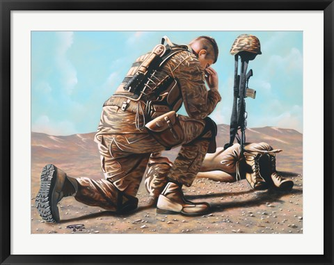 Framed Soldiers Cross Print