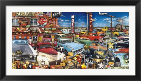 Framed Old Cars and Used Guitars Print