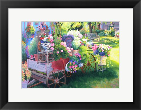 Framed Flower Cart in Door County Print