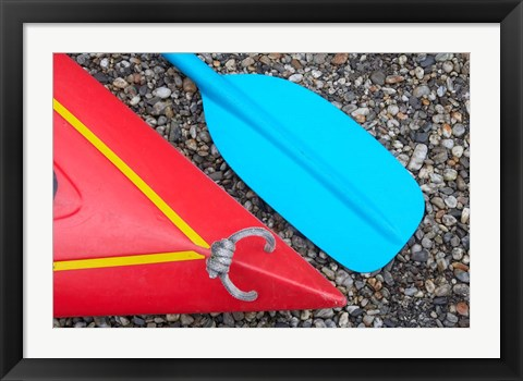 Framed Detail of Red Kayak and Blue Paddle Print