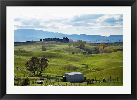 Framed Farmland, Napier, Taihape Road, Hawkes Bay, North Island, New Zealand Print