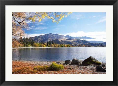 Framed Glendhu Bay, Lake Wanaka, Otago, South Island, New Zealand Print