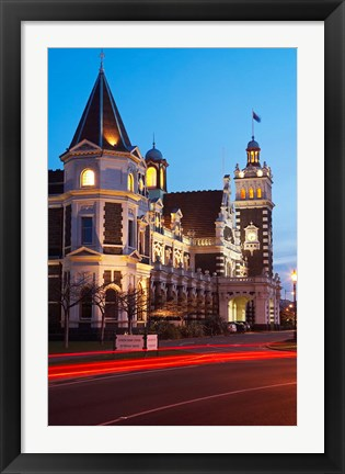 Framed Historic Railway Station at Dusk, Dunedin, South Island, New Zealand Print