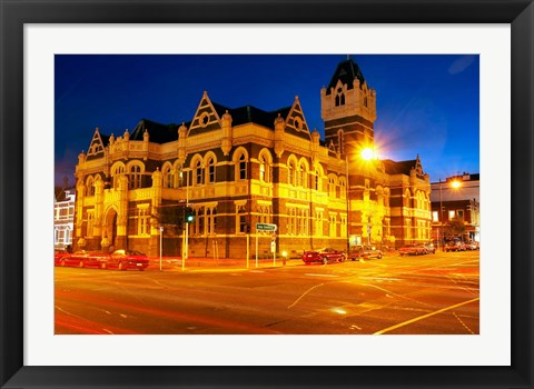 Framed Law Courts at night, Dunedin, South Island, New Zealand Print