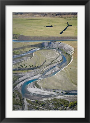 Framed Ohau River and Ohau Canal, Mackenzie Country, South Island, New Zealand Print