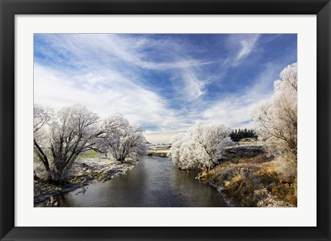 Framed Taieri River, Sutton, Otago, South Island, New Zealand Print