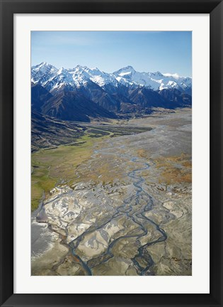Framed Tasman River and Ben Ohau Range, near Mt Cook, South Canterbury, South Island, New Zealand Print