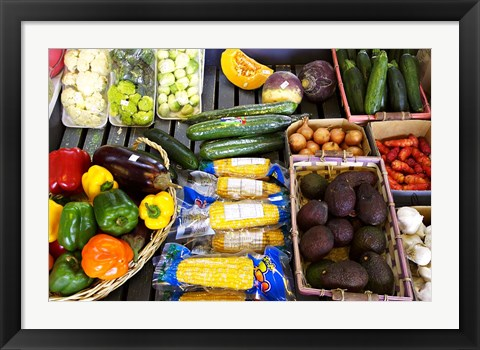 Framed Vegetable Stall, Cromwell, Central Otago, South Island, New Zealand Print