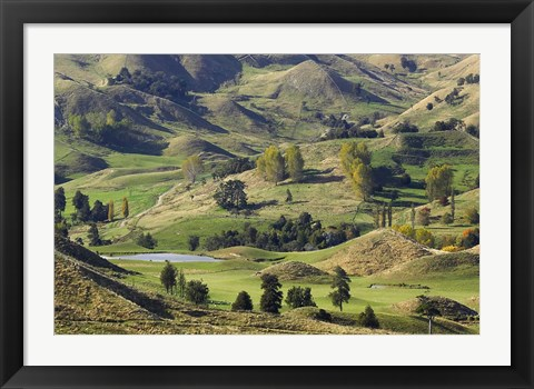 Framed Farmland near Bells Junction, Rangitikei District, Central North Island, New Zealand Print