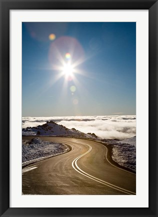 Framed Bruce Road and Clouds, Mt Ruapehu, Central Plateau, North Island, New Zealand Print