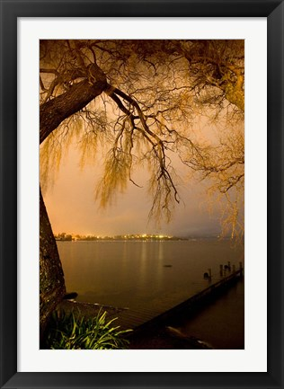 Framed City Lights across Lake Rotorua, Rotorua, Bay of Plenty, North Island, New Zealand Print