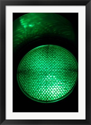 Framed Green Traffic Light, New Zealand Print