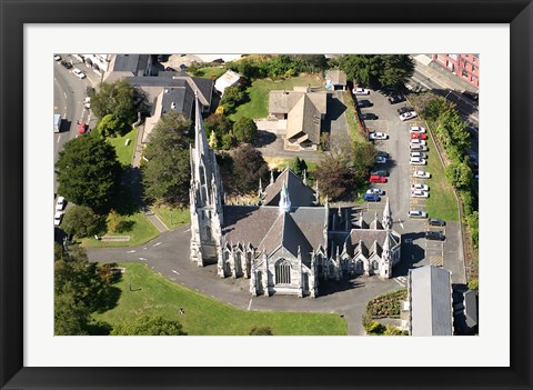 Framed Aerial view of First Church, Dunedin, New Zealand Print