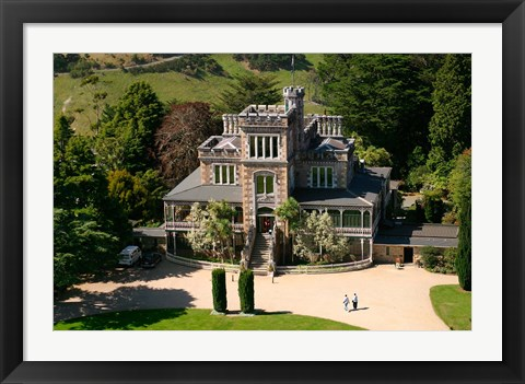 Framed Aerial view of Larnach Castle, Dunedin, New Zealand Print