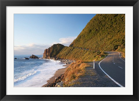 Framed Road at Seventeen Mile Bluff, South Island, New Zealand Print