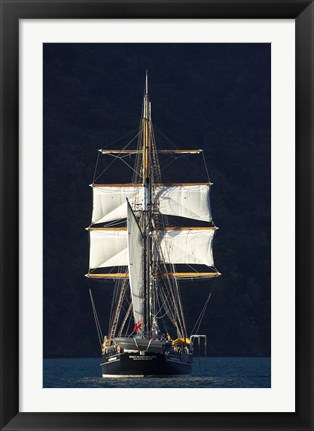 Framed Spirit of New Zealand Tall Ship, Marlborough Sounds, South Island, New Zealand Print