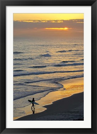 Framed Surfer at Blackhead Beach, South of Dunedin, South Island, New Zealand Print