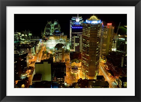 Framed Auckland CBD Viewed from Skytower, Auckland, North Island, New Zealand Print