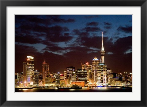 Framed Auckland CBD, Skytower and Waitemata Harbor, North Island, New Zealand Print