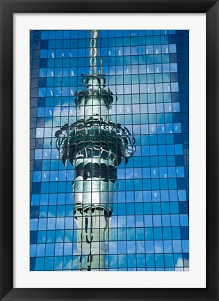 Framed Skytower, Modern Building, Auckland, New Zealand Print