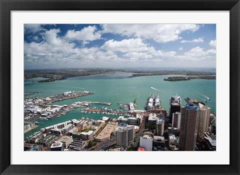 Framed View of Waitemata Harbor from Skytower, Auckland, North Island, New Zealand Print