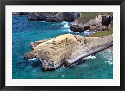 Framed Cliffs at Tunnel Beach, Dunedin, New Zealand Print