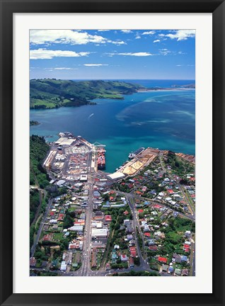 Framed Port Chalmers and Otago Harbor, Dunedin, New Zealand Print