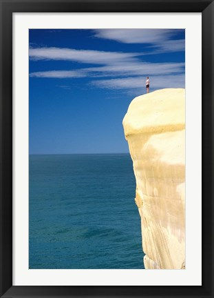 Framed Person on Cliff Top, Tunnel Beach, Dunedin, New Zealand Print