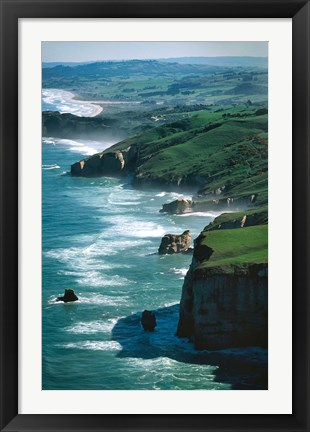 Framed Dunedin Coast near Tunnel Beach, New Zealand Print