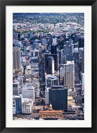 Framed Queen Street and Auckland Central Business District, New Zealand Print