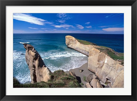 Framed Tunnel Beach, Dunedin, New Zealand Print