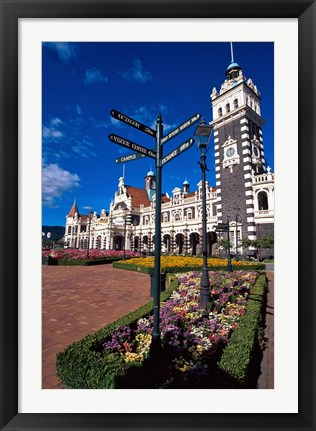 Framed Historic Railway Station building, Dunedin, New Zealand Print