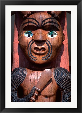 Framed Maori Carving on Arataki Visitors Centre, Waitakere Ranges, Auckland Print